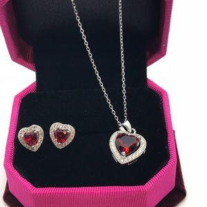 Red ruby earring and necklace set in .925 silver